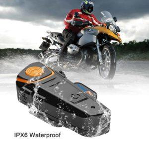 2 PCS BT-S2 Motorcycle Helmet Bluetooth Intercom Headsets 1000m with FM Waterproof IPX6